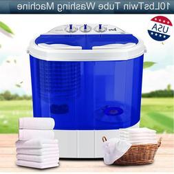10 LBS Mini Washing Machine Compact Twin Tub Laundry Spiner