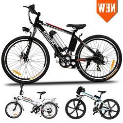 "21-Speed Electric Mountain Bike Bicycle 26"" Fat Tire E-Bike"