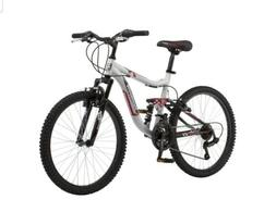 "Mongoose 24"" Ledge 2.1 Boys Mountain Bike, Silver/Red FAST S"