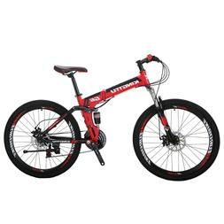 "Kingttu 26"" 21 Speed Folding Mountain Bike Bicycle Full Susp"