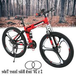 """26"""" 21 Speed Folding Mountain Bike Full Suspension Bicycle M"""