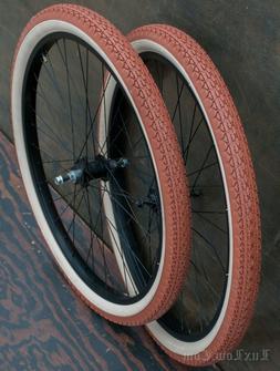 """26"""" Black Cruiser Bike WHEELS Tires Skiptooth Hub Vintage Pr"""
