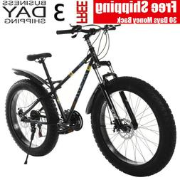 "26"" Fat Tire Snow Mountain Bike 21-Speed Bicycle High-Tensil"