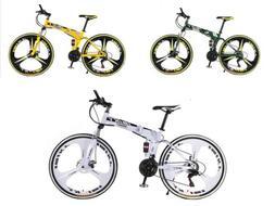 """26"""" Folding Mountain Bike Shimano 21 Speed Full Suspension B"""