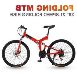 """26"""" Folding Mountain Bike 21 Speed Bicycle Full Suspension M"""