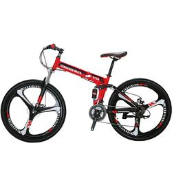 "26"" Folding Mountain Bike Shimano 21 Speed Bicycle Full Susp"