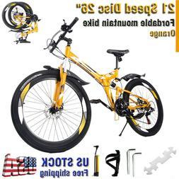 "26"" Folding Mountain Bike Shimano 21 Speed Bicycle Full susp"