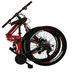 "26"" Full Suspension Mountain Bike 21 Speed Folding Bicycle"