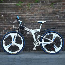 """26"""" Full Suspension Mountain Bike 21 Speed Folding Bicycle M"""