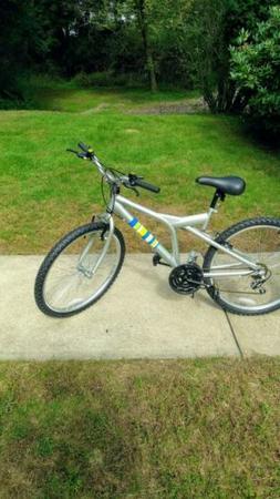 "Kent 26"" Men's Mountain Bike 14 Speed Silver with Stripes, 1"
