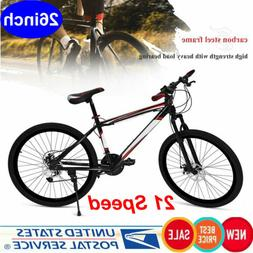 "26"" Mountain Bike 21 Speed Dual Disc Brake Damping Adults Bi"