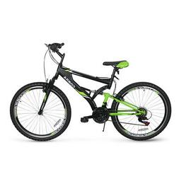 "26"" Mountain Bike Hybrid Bike 21 Speeds Green Full Suspensio"