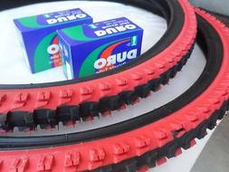 26x1.95 Black Red Bicycle Knobby Tires + Tubes Mountain Bike