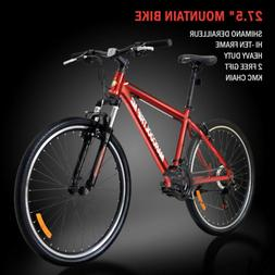 "27.5""Men's Mountain Bike Shimano V-Brakes 21 Speed Front Sus"