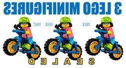 3 MOUNTAIN BIKERS Lego Minifigures - SEALED