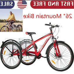 "3Wheeled MTB 7Speed Mountain 26"" Tricycles Cruiser Bike Disc"