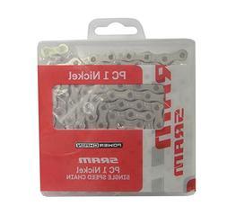 SRAM PC 1 Chain - Single Speed Nickel, 114 Links, SnapLock