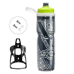 Via Velo Bicycle Reflective Insulated Water Bottle & Cage 26