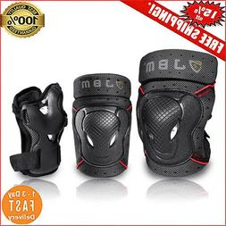 JBM Adult BMX Bike Knee Pads and Elbow Pads with Wrist Guard