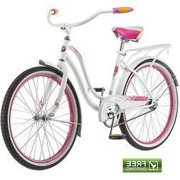 cruiser bike 24 girls white pink retro