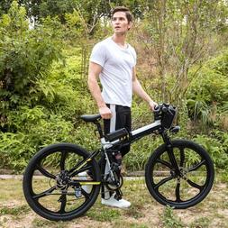 "Electric Folding Mountain Bike 26"" 250W 21 Speed e-Bike Ligh"