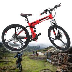 Foldable 26inch Mountain Bike 21 Speed Bicycle Full Suspensi