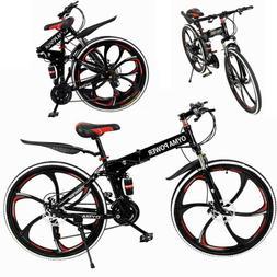 "Folding Bike Mountain Bike 26"" 21 Speed Double Disc Brake Bi"