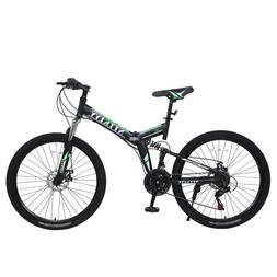 "Folding Mountain Bike 26"" Front Suspension Bicycle 21 Speed"