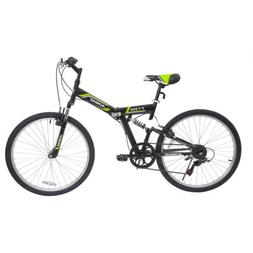 "26"" Folding Mountain Bike 7 Speed Bicycle Shimano Hybrid Sus"