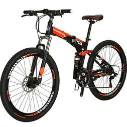 "Folding Mountain Bike Full Suspension 27.5"" 21 Speed Disc Br"