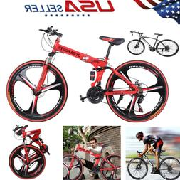 "Full Suspension Folding Mountain Bike 26"" 21 Speed Bicycle D"