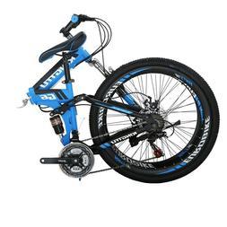 G6 26'' Full Suspension Folding Mountain Bike 21 Speed Blue