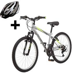 "Roadmaster 24"" Men's Granite Peak Boys Mountain Bike, Silver"