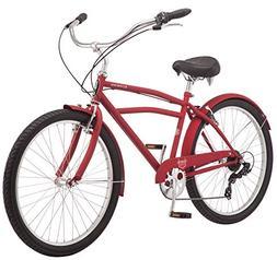"""Schwinn Huron Men's Cruiser Bike, 7-Speed, 26"""" Wheels, Red"""