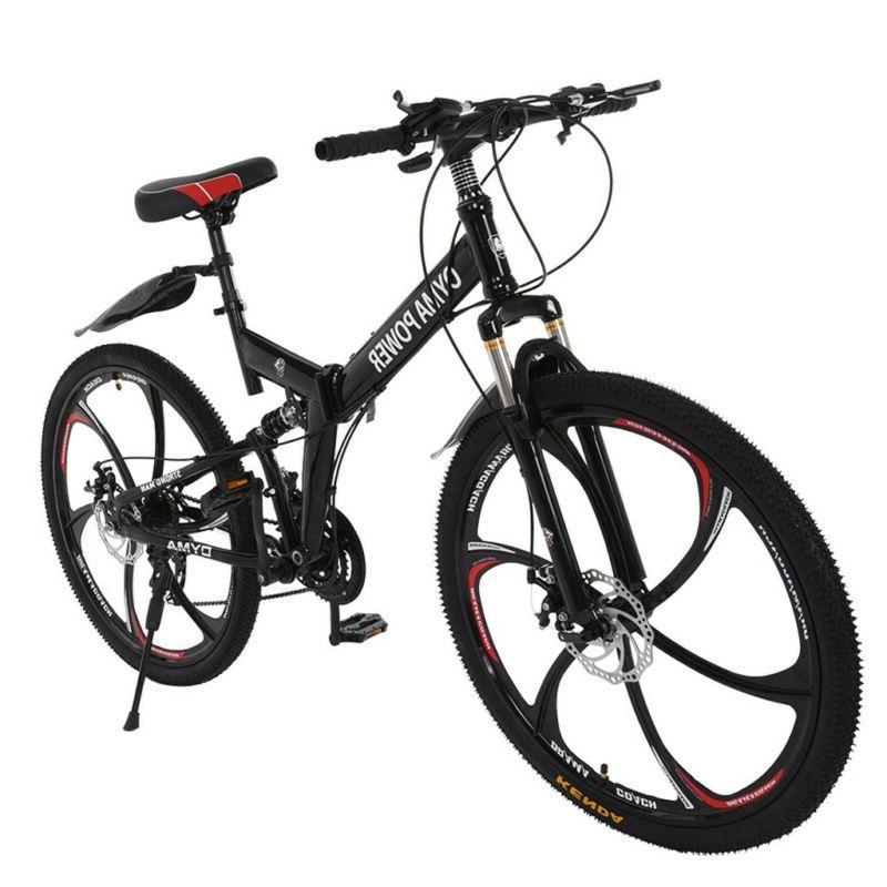 """Folding Mountain Bike 26"""" Full Suspension Bicycle 21 Speed M"""