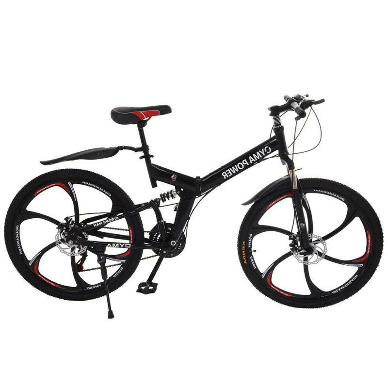 "Full Suspension Folding Mountain Bike 26"" 21 Speed Bicycle D"