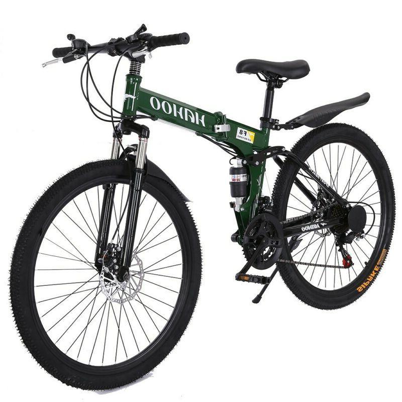 "26"" Folding Mountain Bike 21 Speed Dual Disc Brakes Full Sus"