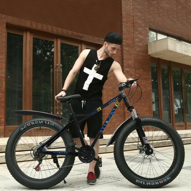 "4"" Fat Tire Mountain Bike 26inch 21-Speed Bicycle High-Tensi"