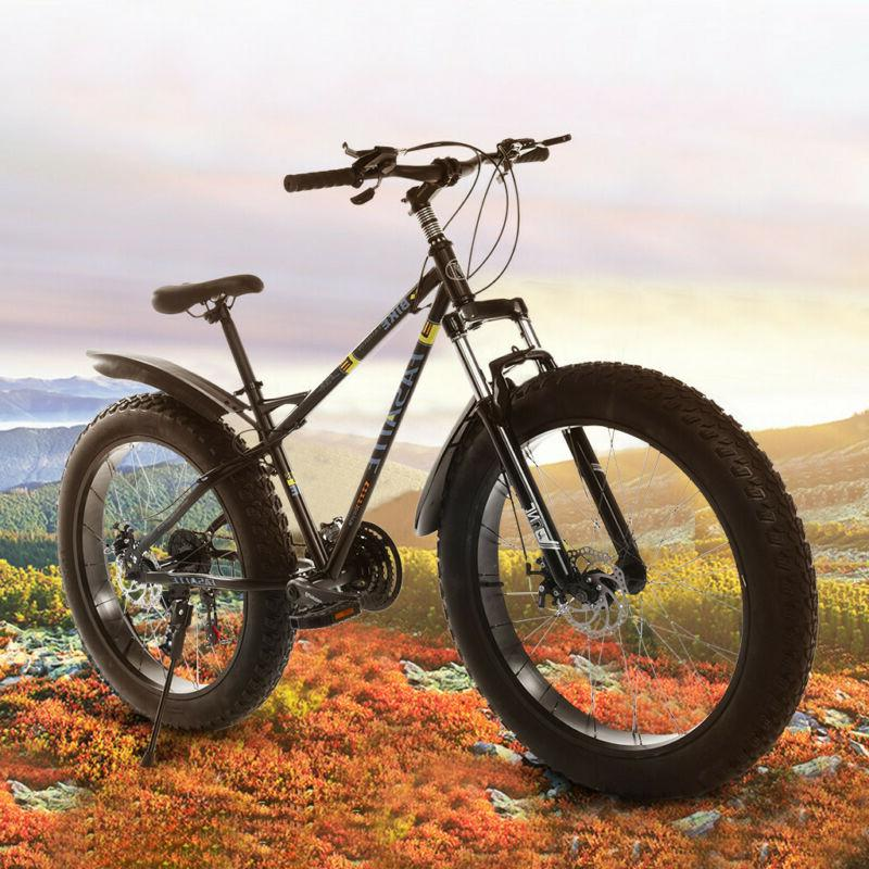 26-inch Fat Tire Mountain Bike 21-Speed Bicycle High-Tensile