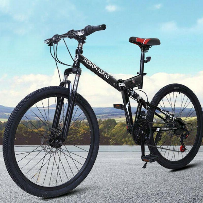 Outroad Mountain Bike  21 Speed 26in Folding Bike Double Dis