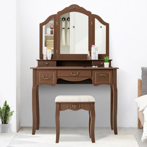 5 Drawers 3 Mirrors Vanity Makeup Dressing Table Set With St