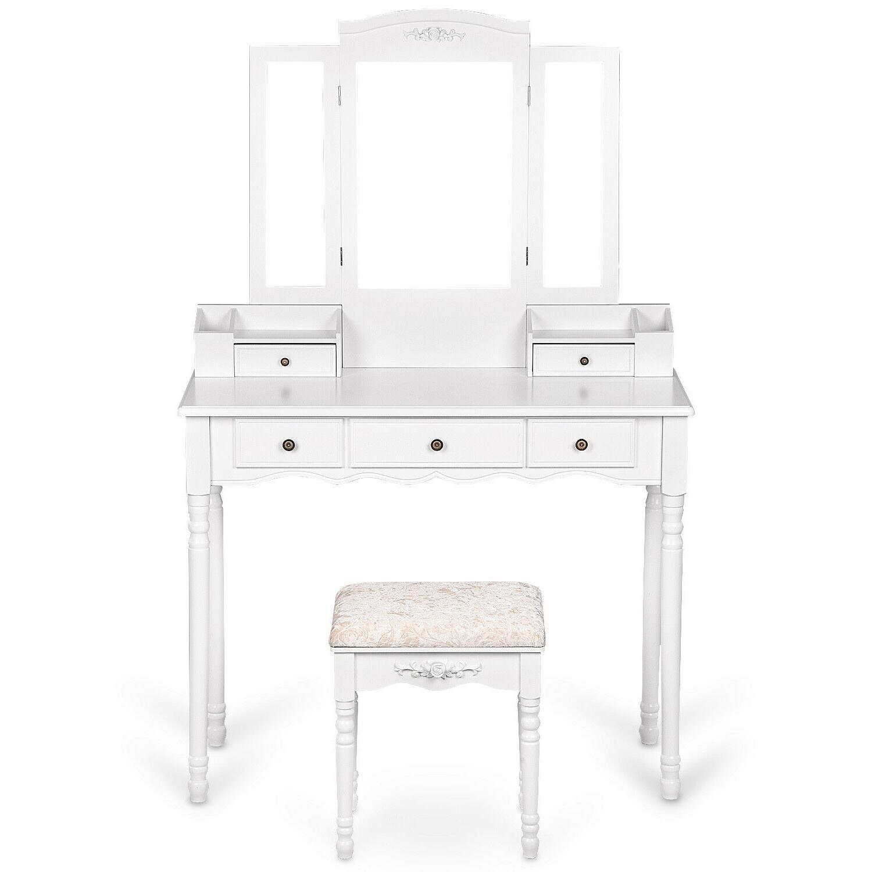 Vanity Desk Cushioned Stool White