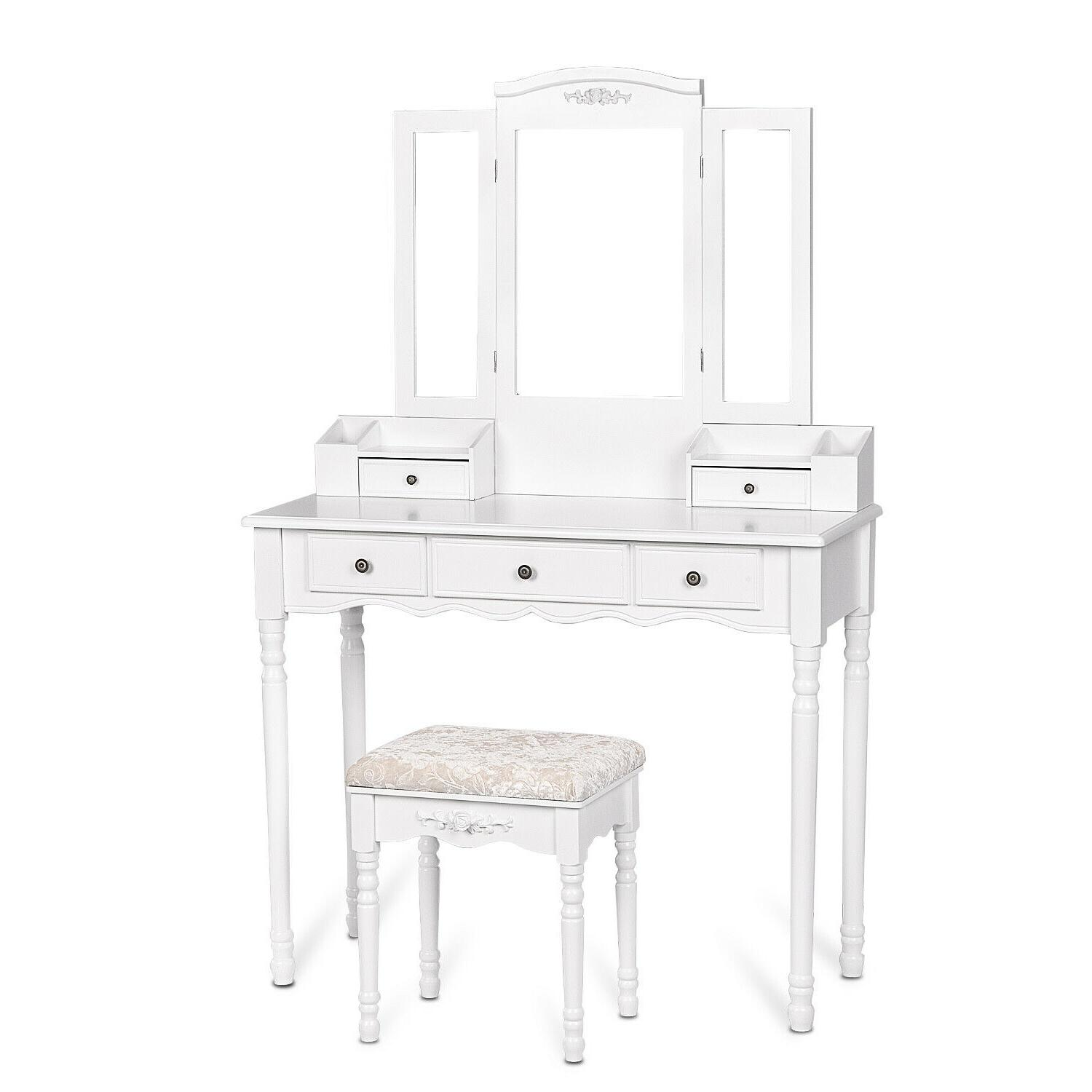 3 5 Vanity Table Desk Cushioned White