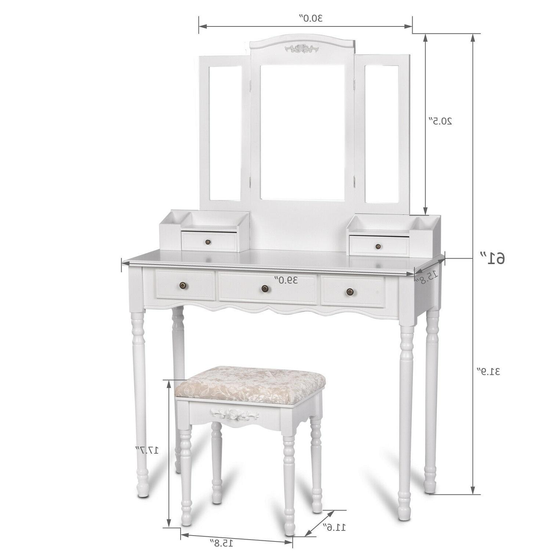 3 Mirrors 5 Desk Set Stool