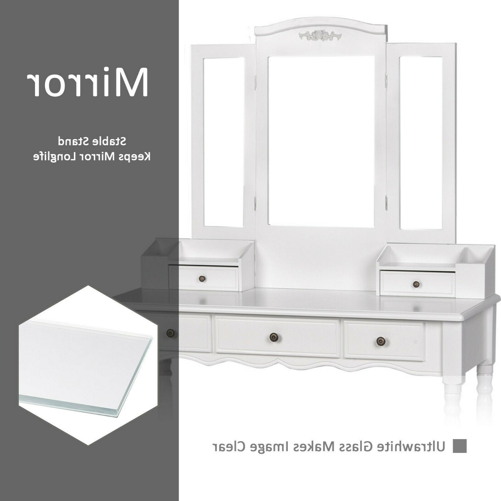 3 Mirrors Vanity Makeup Dressing Desk White