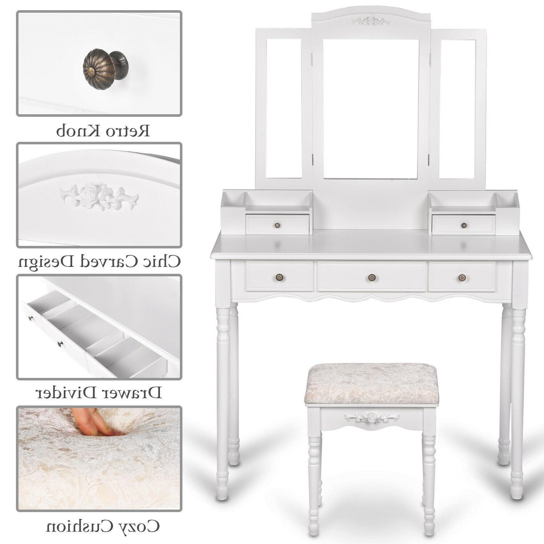 Vanity Makeup Desk Set Cushioned Stool White