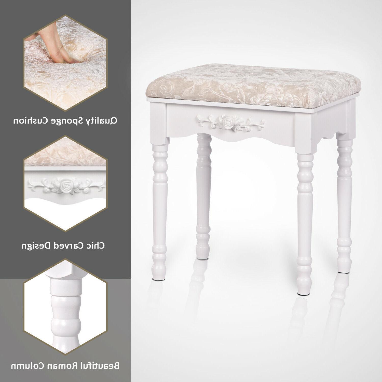 3 Mirrors 5 Vanity Desk Set Stool White