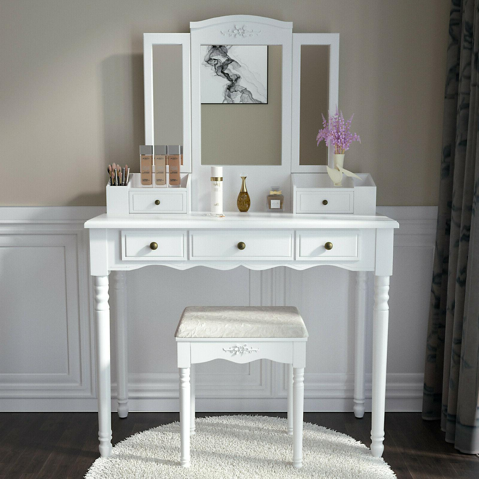 3 mirrors 5 drawers vanity makeup table