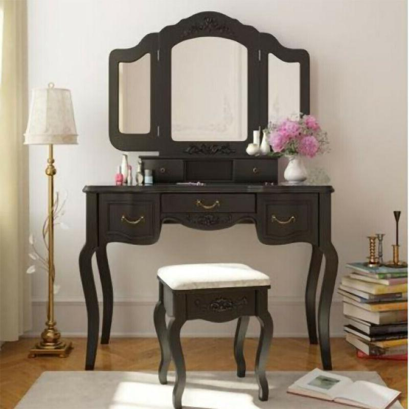 5 drawers 3 mirrors vanity makeup dressing
