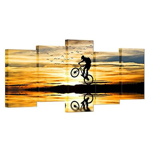 VVOVV Wall Decor - Mountain Bike Racing Canvas Wall Art Bike